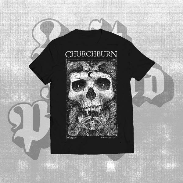 Churchburn serpent skull black shirt