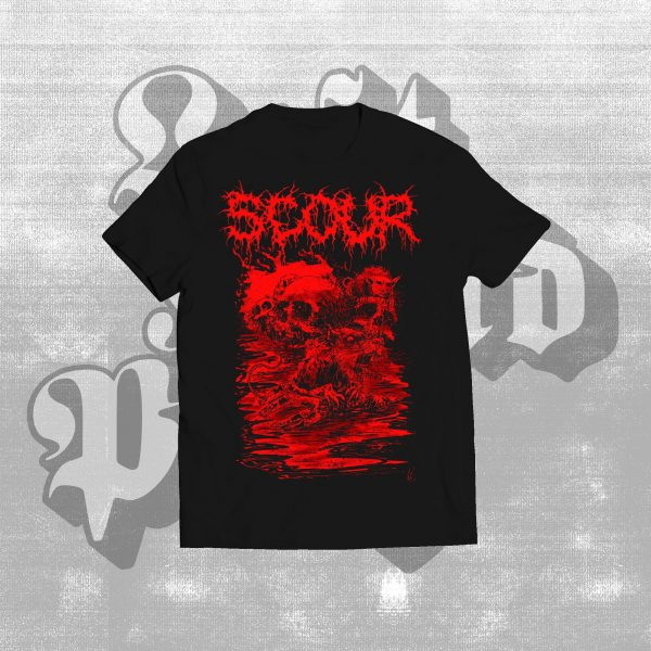 scour skull shirt red, black